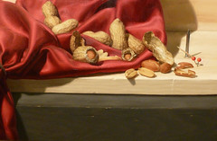 """Anaphylaxis,"" detail of peanuts and woodgrain"