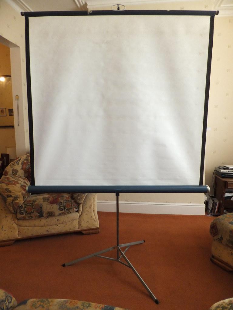 Vintage Portable Screen : Vintage large portable adjustable projector screen on trip