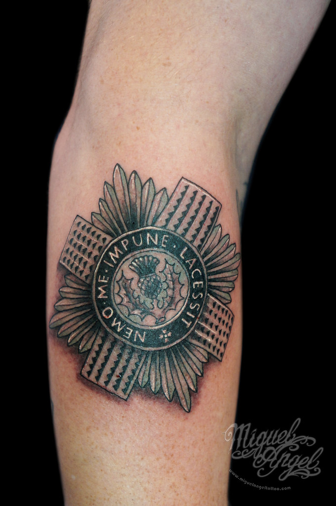 Scots guards badge tattoo miguel angel custom tattoo for Tattoos in the british army