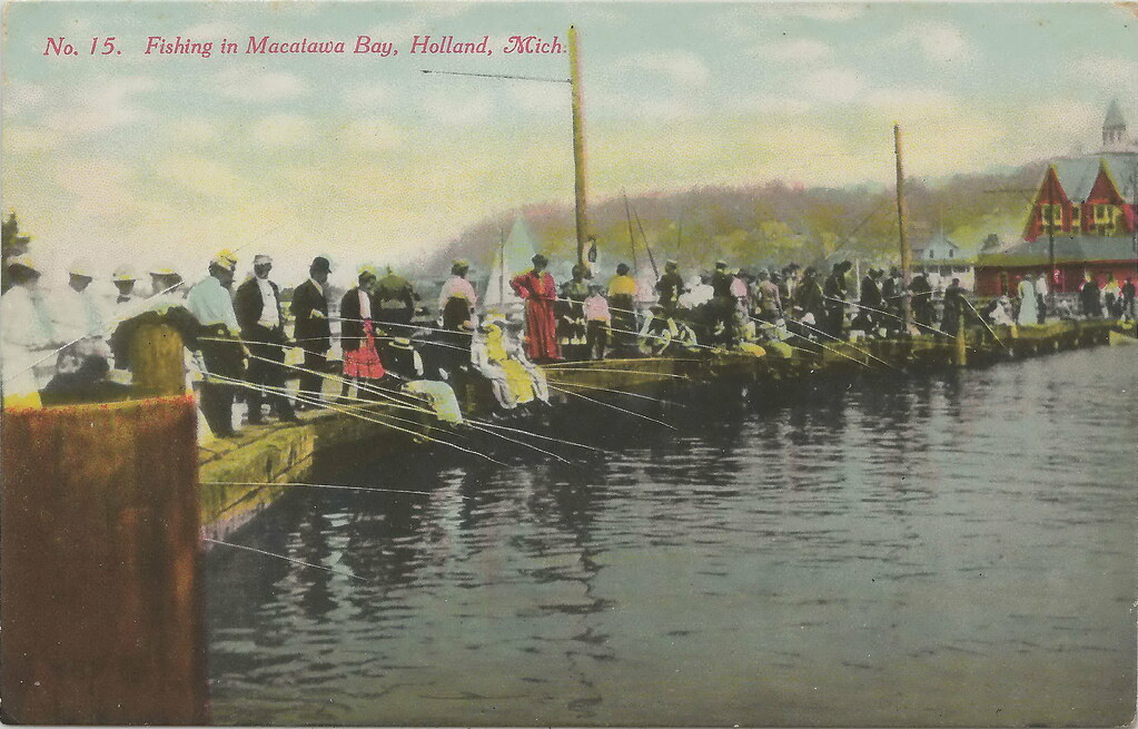 Sw holland mi circa 1910 macatawa bay cane pole fishing da for Southwest michigan fishing report