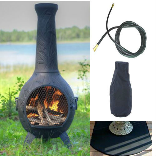 QBC Bundled Blue Rooster Orchid Chiminea with Propane Gas Kit, Half Round Flexbile Fire Resistent Chiminea Pads, 20 ft Gas line, and Free Cov Charcoal Color - Plus Free QBC Metal Chiminea Guide