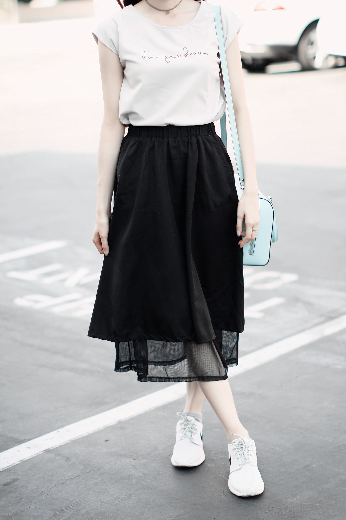 9809-live-your-dream-chiffon-blouse-korean-fashion-black midi-skirt