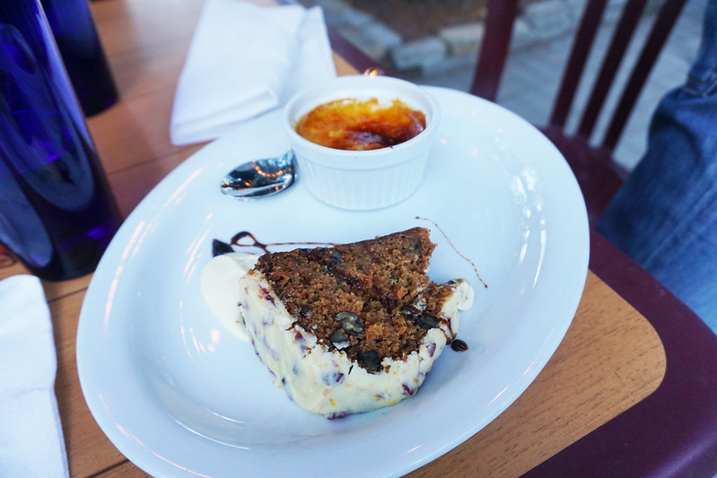 carrot cake and creme brulee