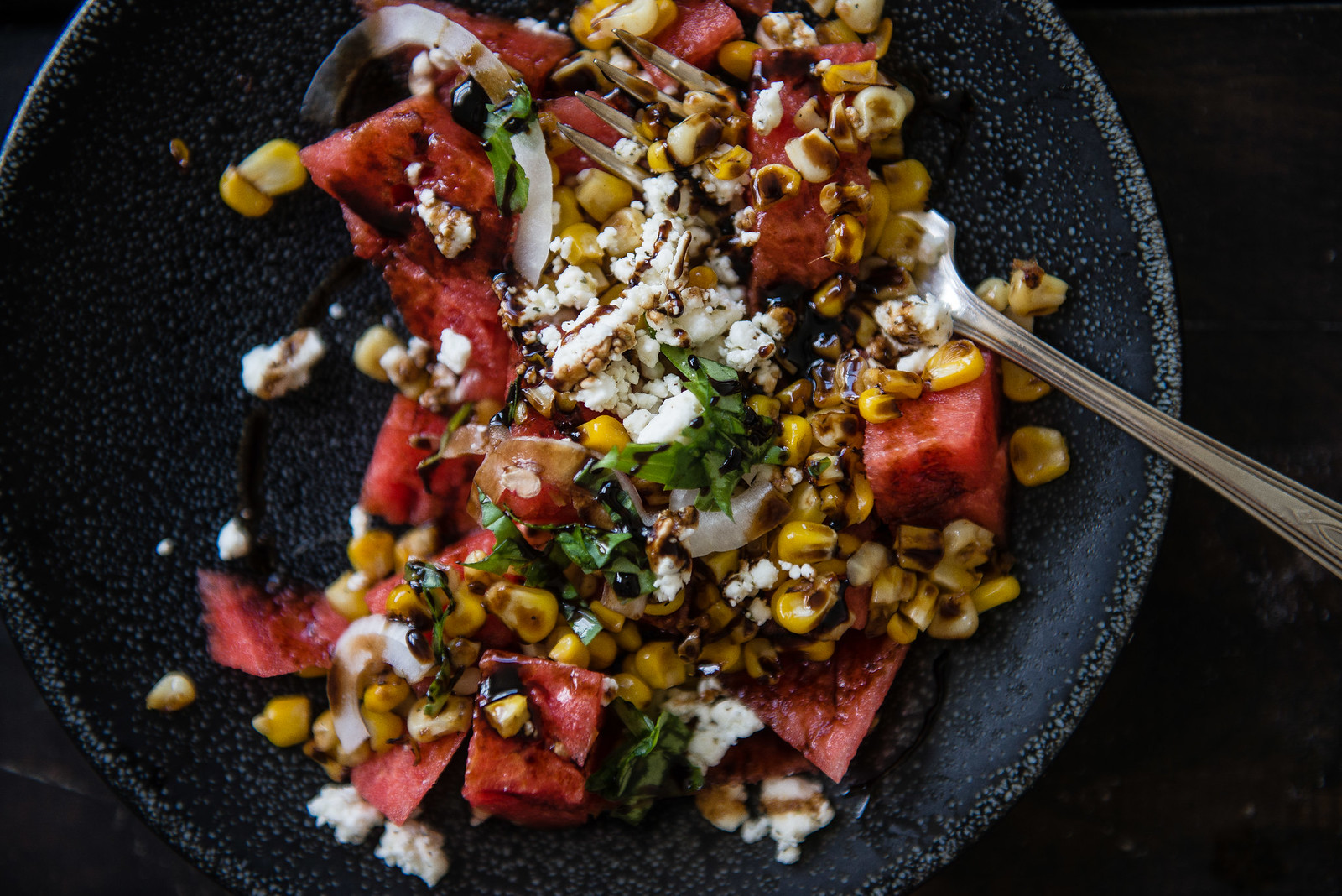 watermelon, grilled corn, & feta salad | two red bowls