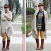 Thanksgiving outfit: Missoni for Target chevron sweater dress, cable knit cardigan, yellow tights, Frye partial-laceup knee-high leather boots, maiden braids