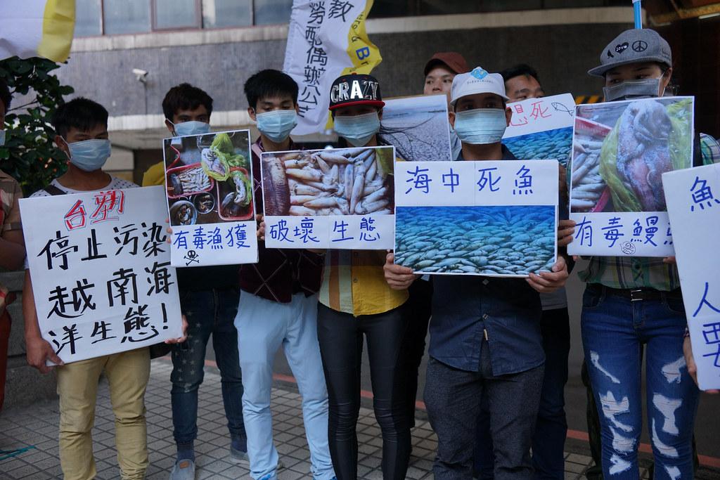 圖片展示越南海水污染與魚群死亡案例。(攝影:王顥中)