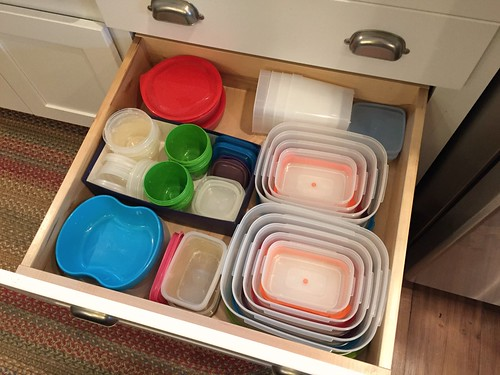 food storage containers in kitchen drawer