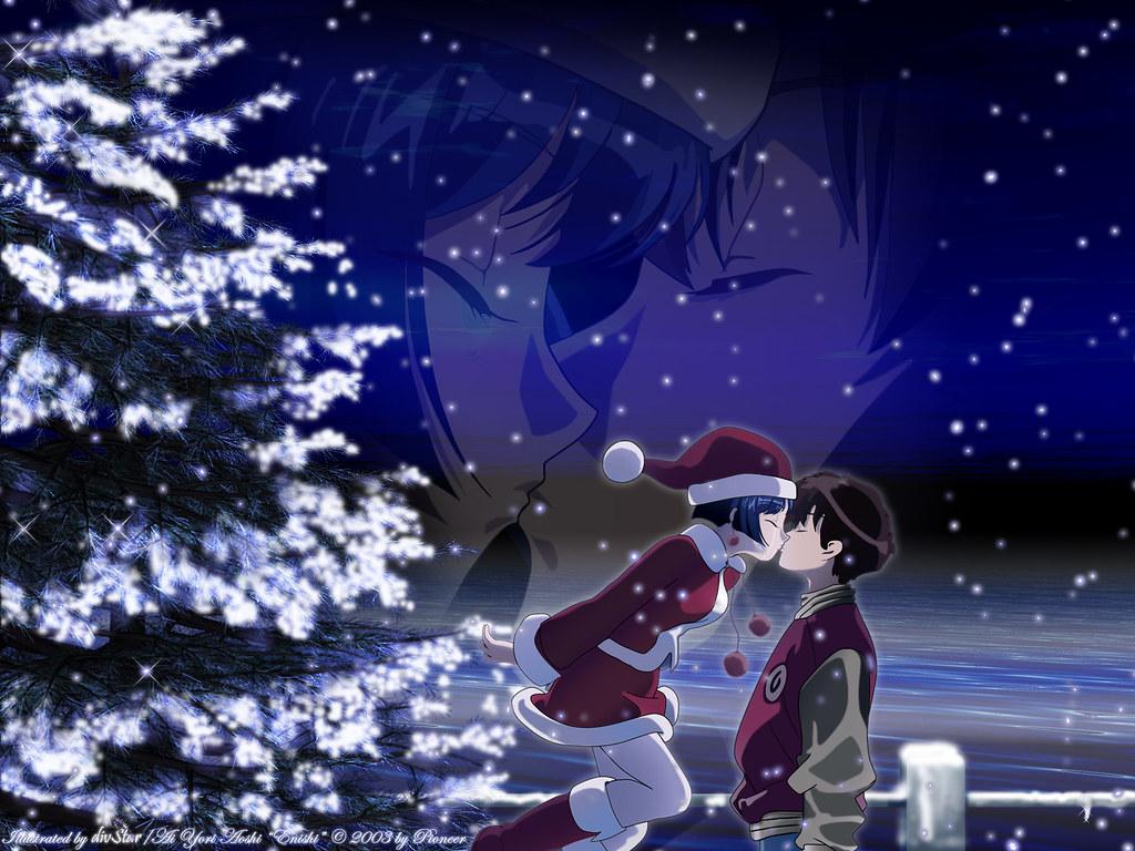 Merry Christmas Anime Girl Boy Night Kiss HD Wallpaper - S… | Flickr