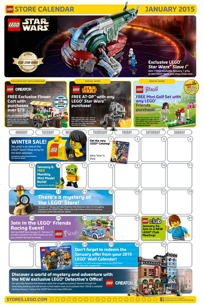 January 2015 LEGO Store Calendar | Read more here: www.thebr ...