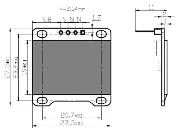 OLED 0.96in Module Dimensions