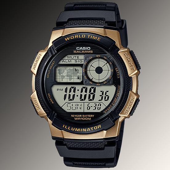 Casio Ae 1000w 1a3 Digital Map Watch 10 Year Battery World Time 5