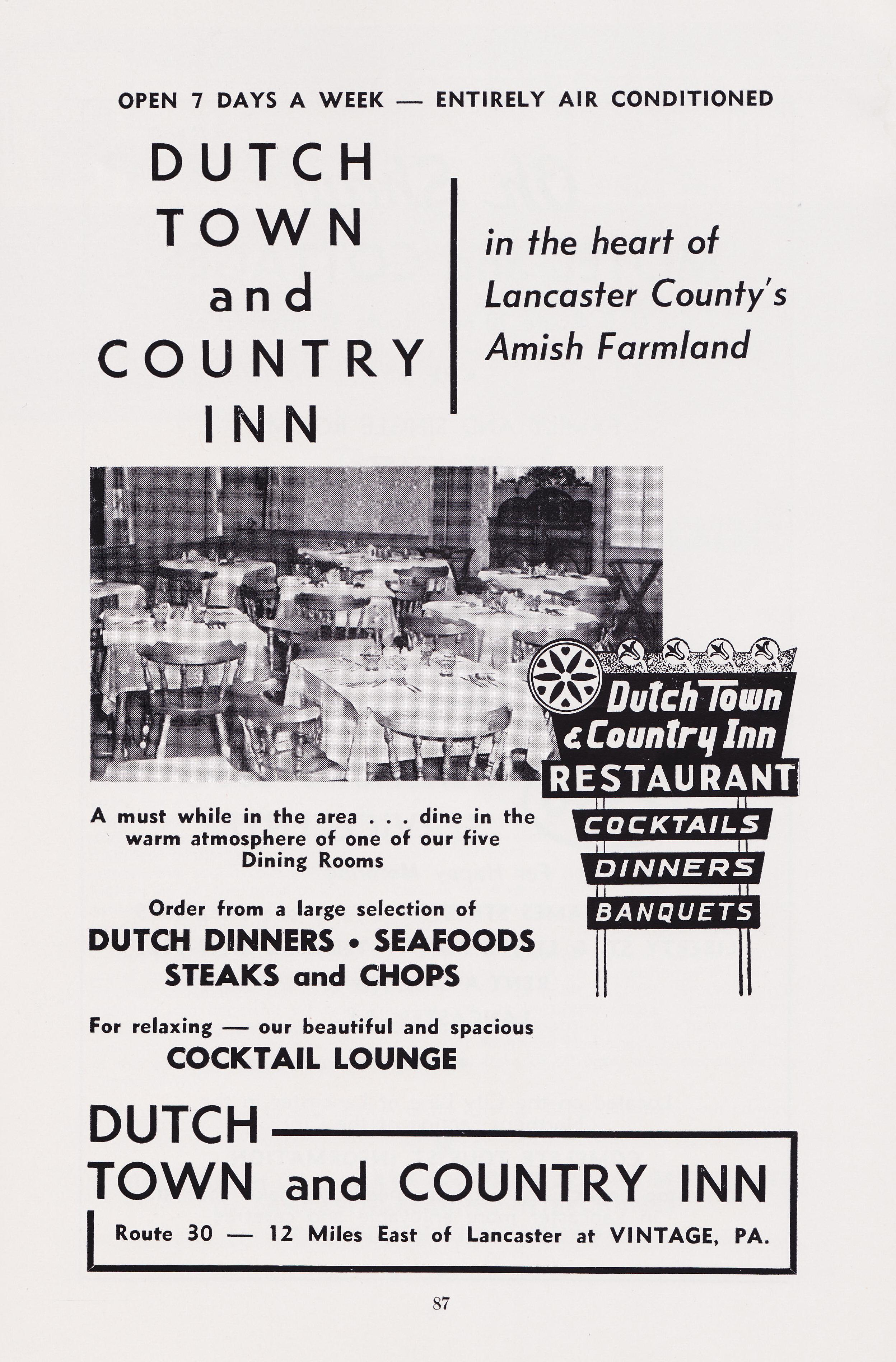 Dutch Town and Country Inn - Vintage, Pennsylvania U.S.A. - 1959