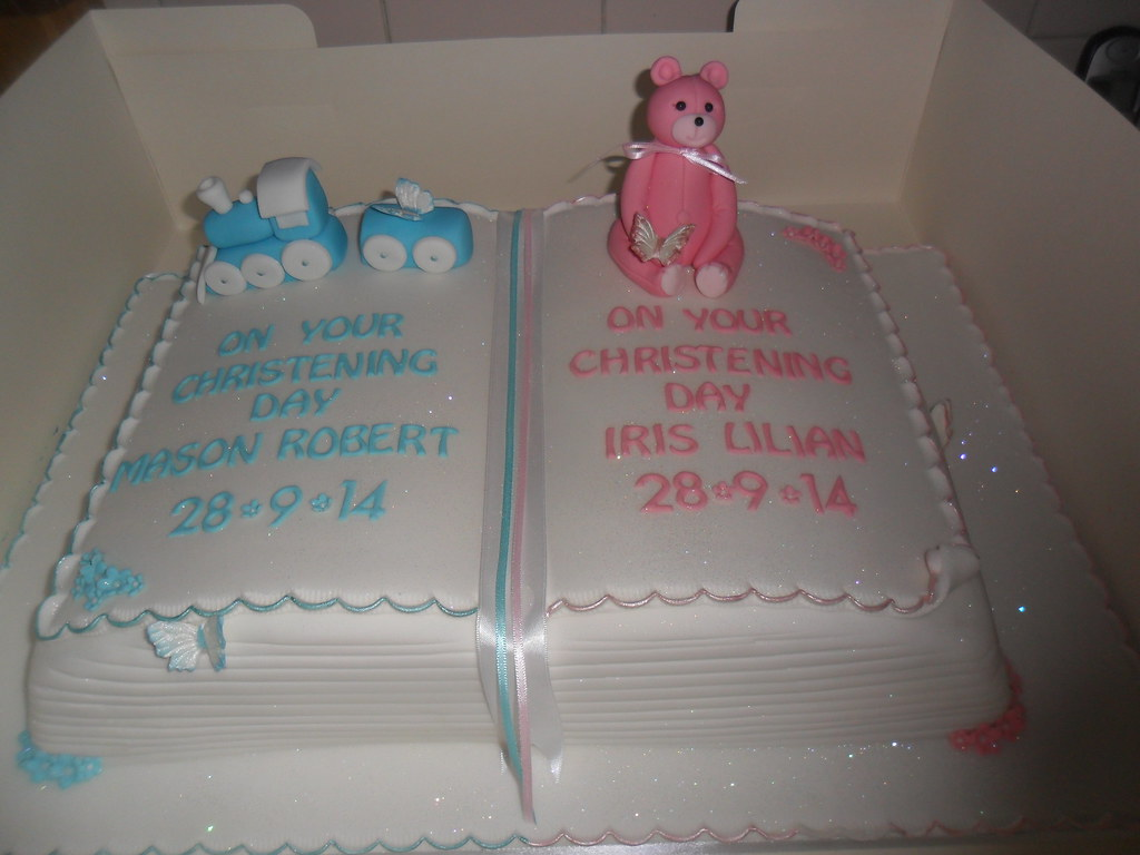 Baby Boy And Baby Girl Christening Book Large Cake  Flickr-7929