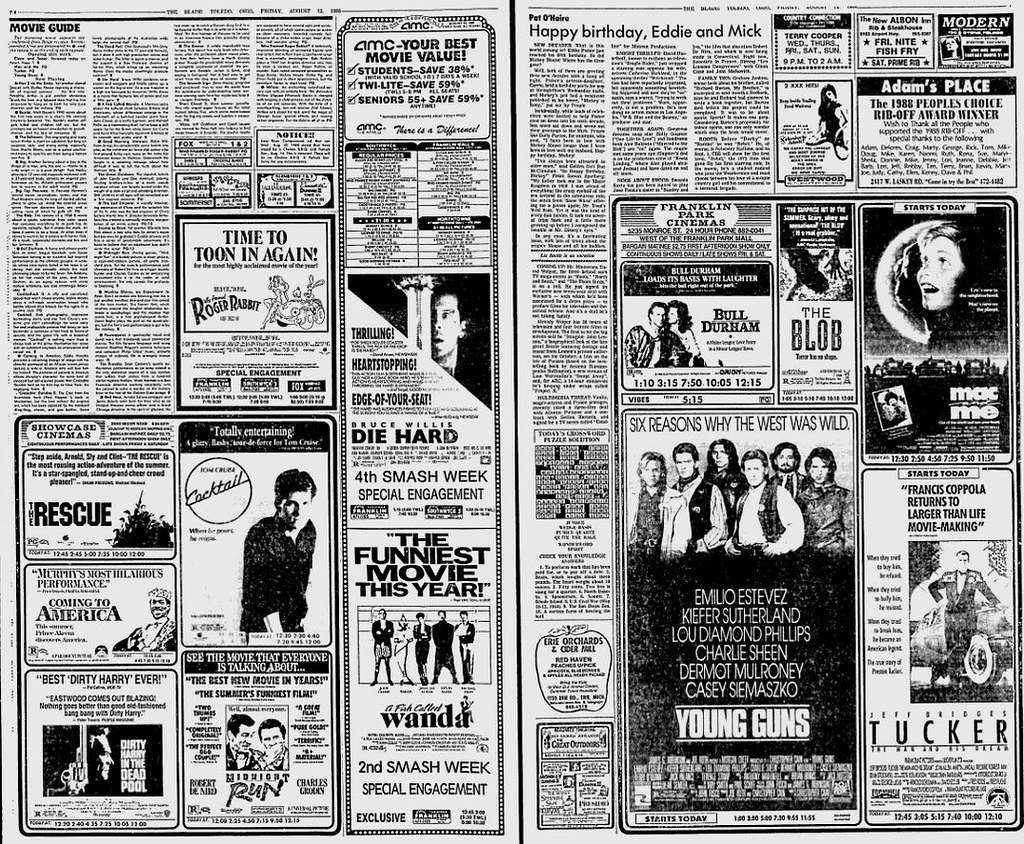 movie section from toledo blade newspaper aug 12 1988