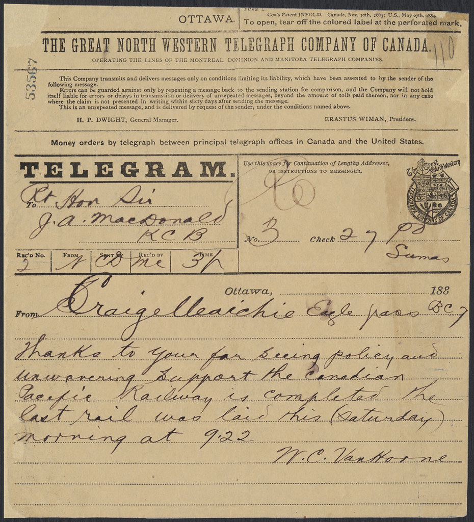 telegram to prime minister john a macdonald announcing th flickr. Black Bedroom Furniture Sets. Home Design Ideas