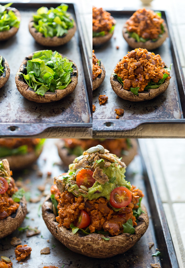 #Vegan Soyrizo-Stuffed Portobello Mushrooms with Guacamole and spicy chips! #glutenfree