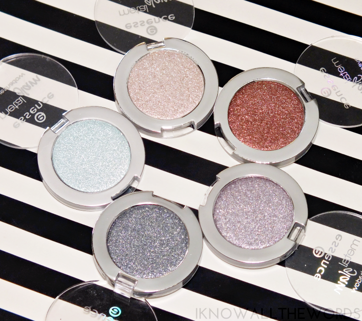 essence metal glam eyeshadows sugar mint candy, hello goldie, choco-chick, are you grey, sparkle all night (1)