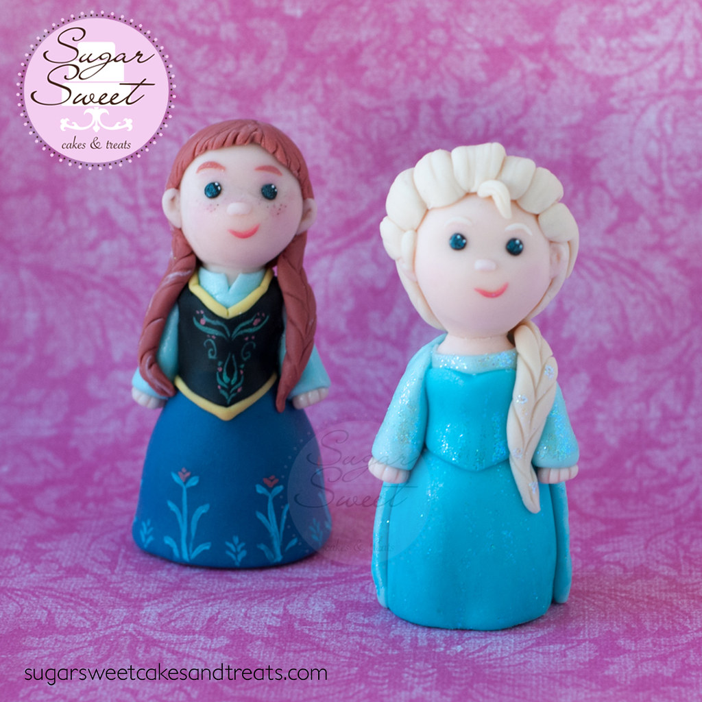 Elsa And Anna Cake Decoration : Frozen Elsa and Anna Cake Toppers 3.5 inch gumpaste cake ...