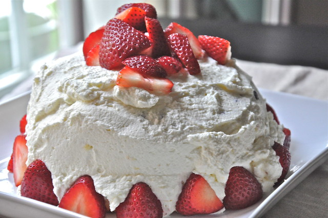 Cake With Whipped Cream Frosting And Strawberries : Angel Food Birthday Cake Flickr - Photo Sharing!