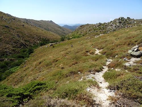 Dans la remontée au-dessus du ruisseau de Menta : la vallée vers l'aval