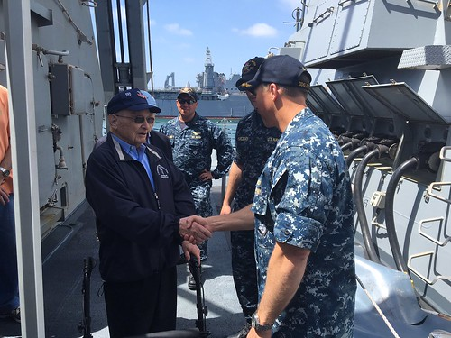 SAN DIEGO - As 92-year-old Harold Griffel crossed the brow of the guided-missile destroyer USS Wayne E. Meyer (DDG 108) on April 27, the ship's crew prepared to give him traditional military honors.