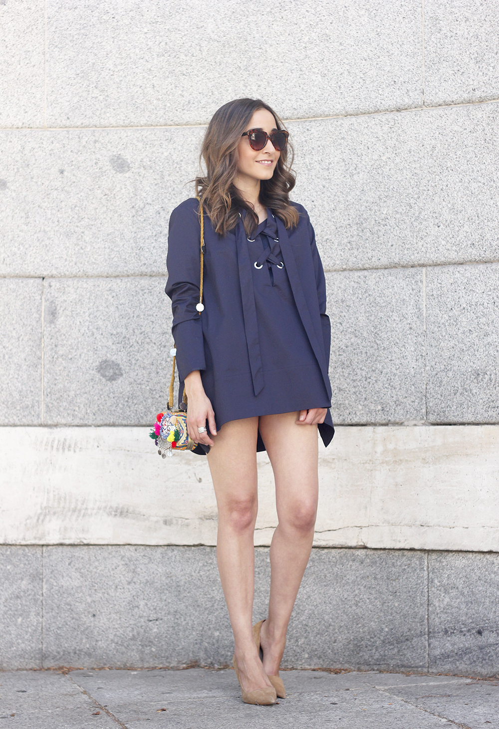 lace up blouse denim shorts nude heels clutch sunnies outfit style fashion05