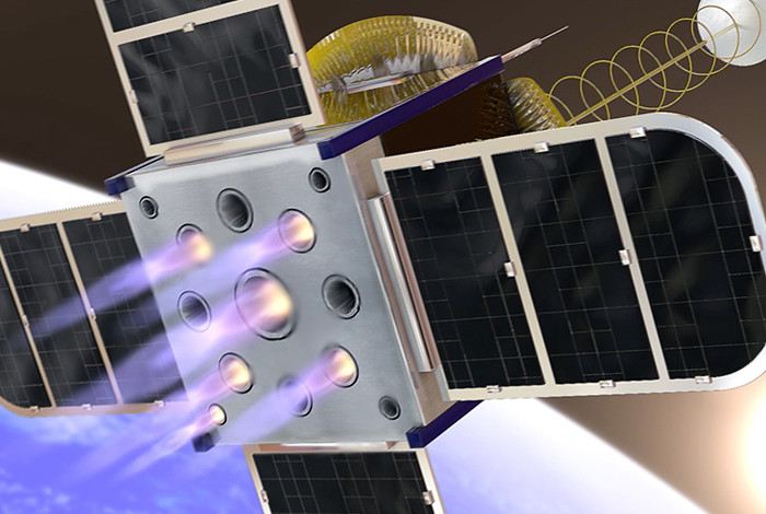 Artists concept of a CubeSat on-board propulsion system. (Photo credit: Inside Out Visuals)