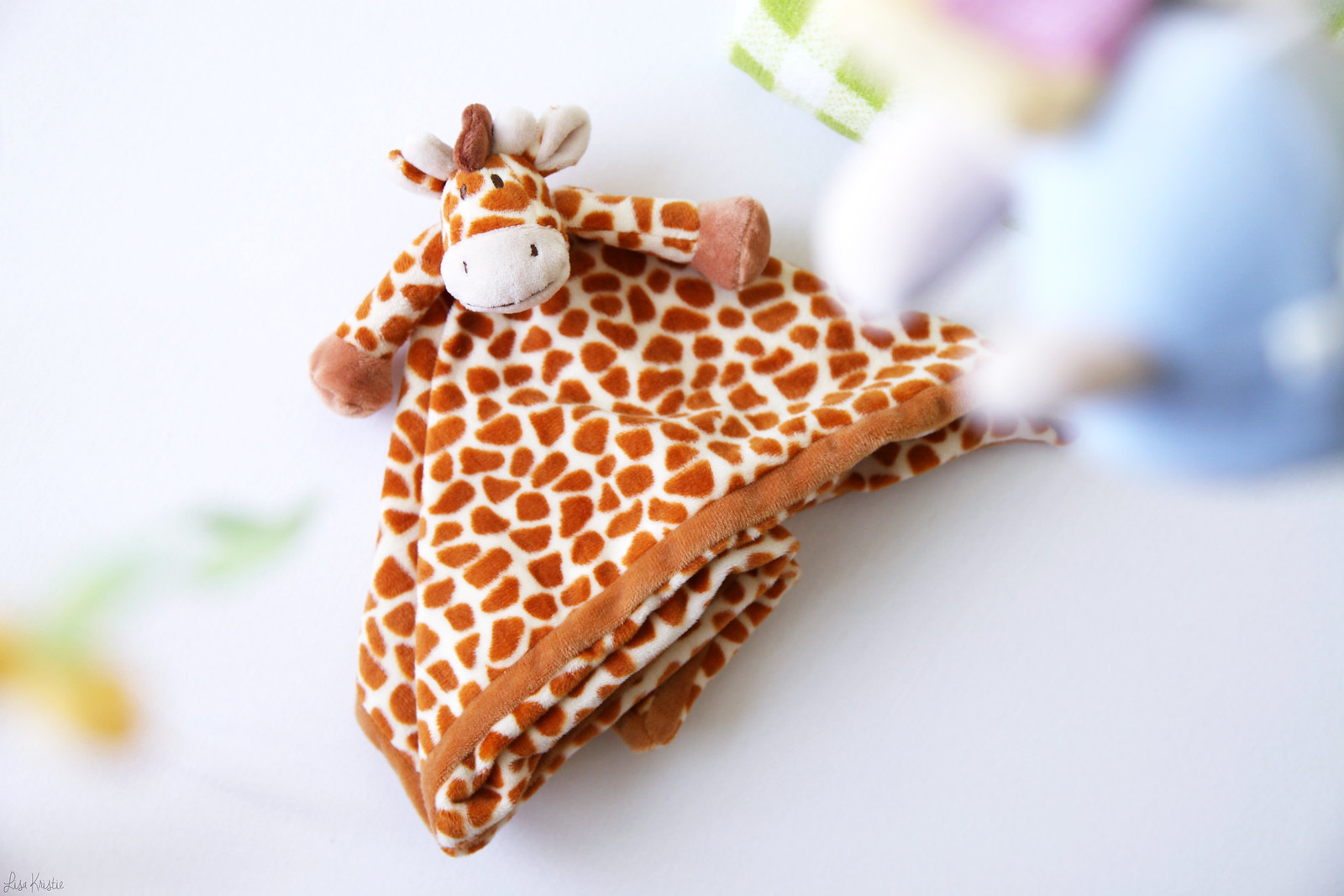 giraffe print pattern baby blankie soft plush toy animal gender neutral