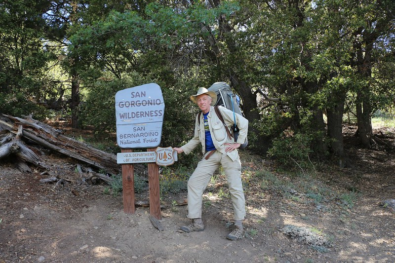 At 7000 feet we cross into the San Gorgonio Wilderness - me posing with the sign on the Momyer Trail