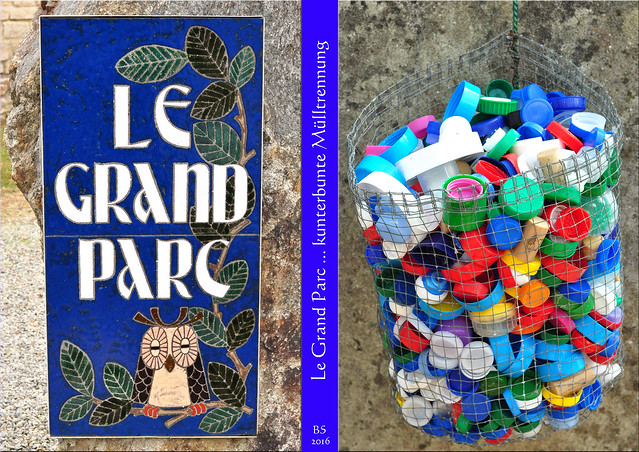 """Das Eulen-Mosaik am Eingang des """"großes Parks"""" hat mir gefallen ... und auch die Mülltrennung mit den farbenfrohen Flaschendeckeln aus Kunststoff war mir ein Foto wert. - Foto: Brigitte Stolle 2016"""
