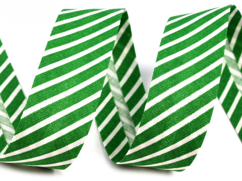 Schrägband Streifen 14mm, grün-weiß