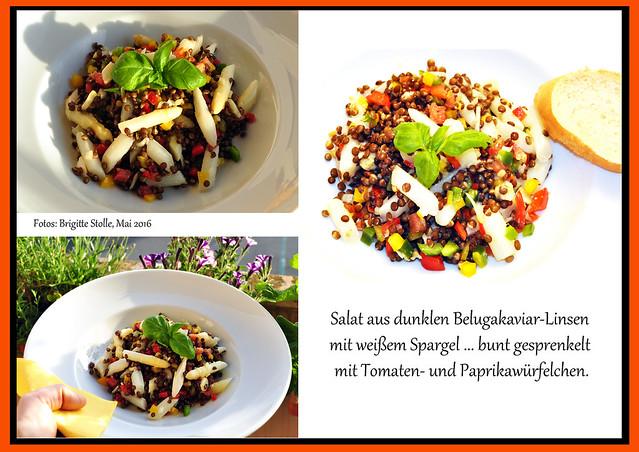 Spargel Spargelzeit Schwetzinger Spargel Salat aus dunklen Belugakaviar-Linsen mit weißem Spargel ... bunt gesprenkelt mit Tomaten- und Paprikawürfelchen Foto: Brigitte Stolle, Mai 2016