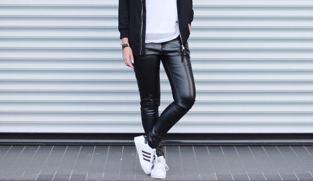 adidas superstar street style leather trousers shout out to you flickr. Black Bedroom Furniture Sets. Home Design Ideas