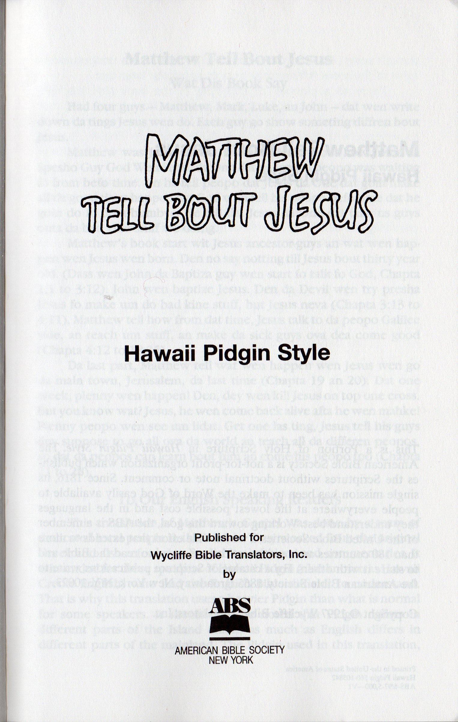 pidginnigerian Language | Just another Hausa.Bible Sites site |Pidgin Bible