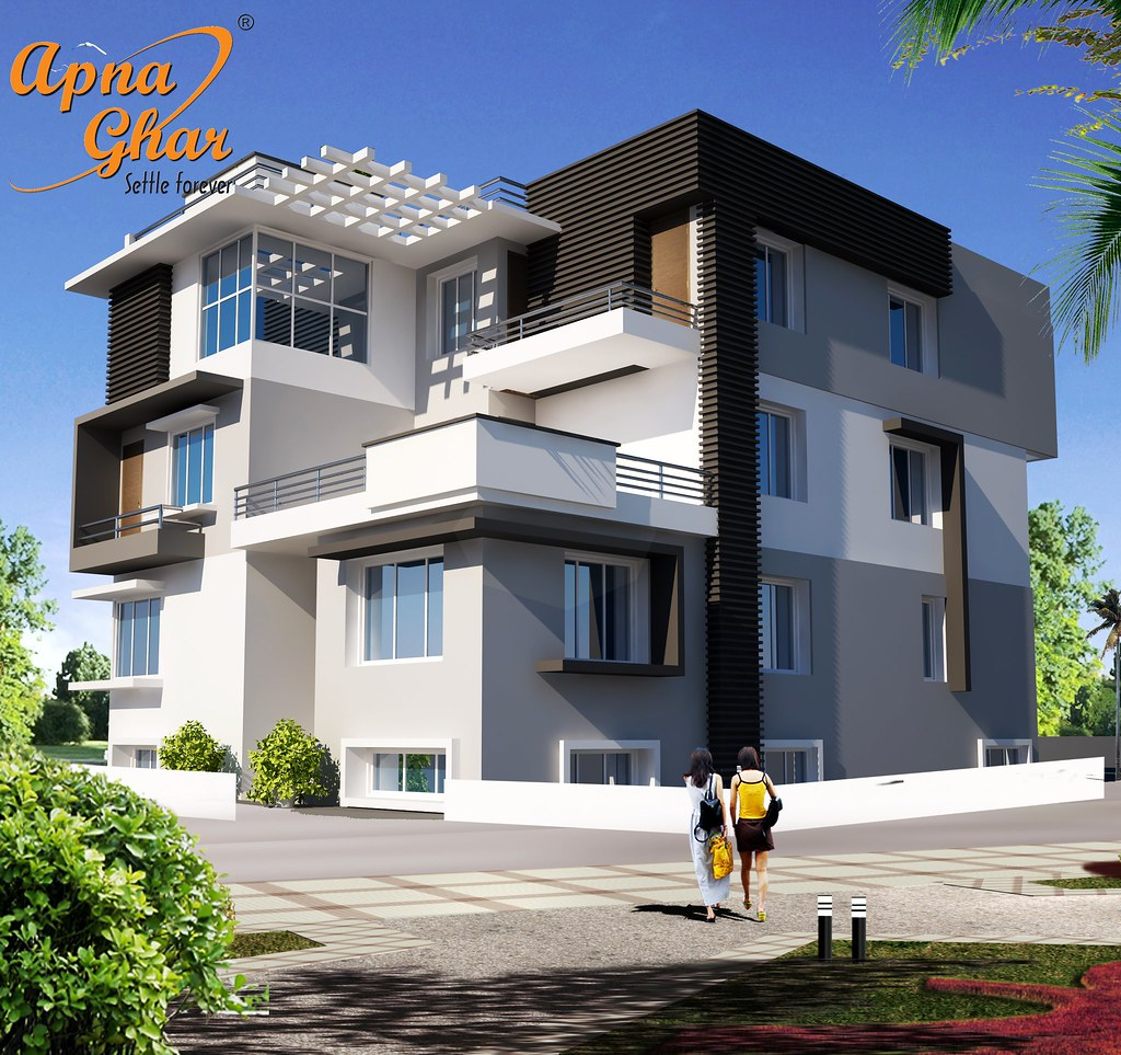 Sample Front Elevation For Small N Houses : Triplex house design in m bedrooms