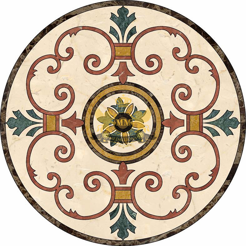Circle cut water-jet marble mosaic decorative floor medall