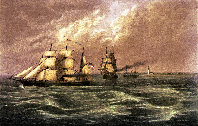 The Sumter running the blockade of Pass à l'Outre, by the enemy's Ship Brooklyn, on the 30th June, 1861