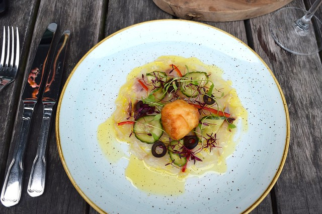 Gin Mare Cured Sea Bass with Pickled Cucumber, Black Olives, Chilli & a Scallop Beignet in Tonic Batter at Rocksalt | www.rachelphipps.com @rachelphipps