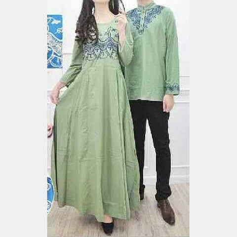 Baju Gamis Muslim Couple Sally Green Bordir Toko Jual