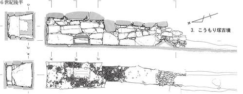 こうもり塚古墳の石室三面図