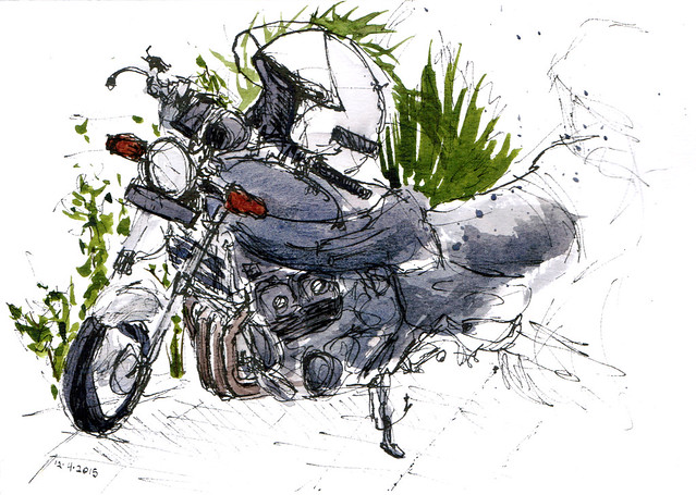 An ink and watercolor sketch of a very nice stranger's motorcycle in Singapore