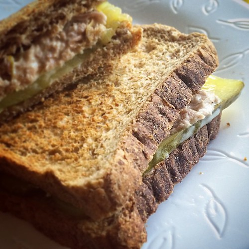Tuna salad sandwich with lemon zest and pickles on wholewheat. #LazyLunch