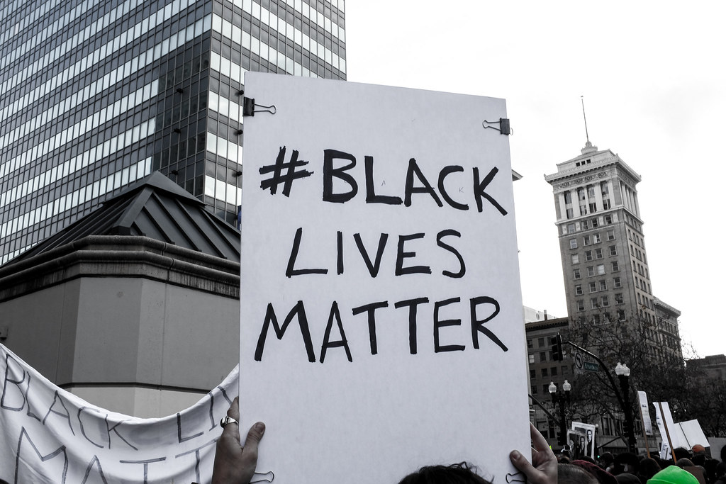 "Protest sign: ""#BLACKLIVESMATTER"", from https://www.flickr.com/photos/82417691@N00/16022084905, License: https://creativecommons.org/licenses/by/2.0/"