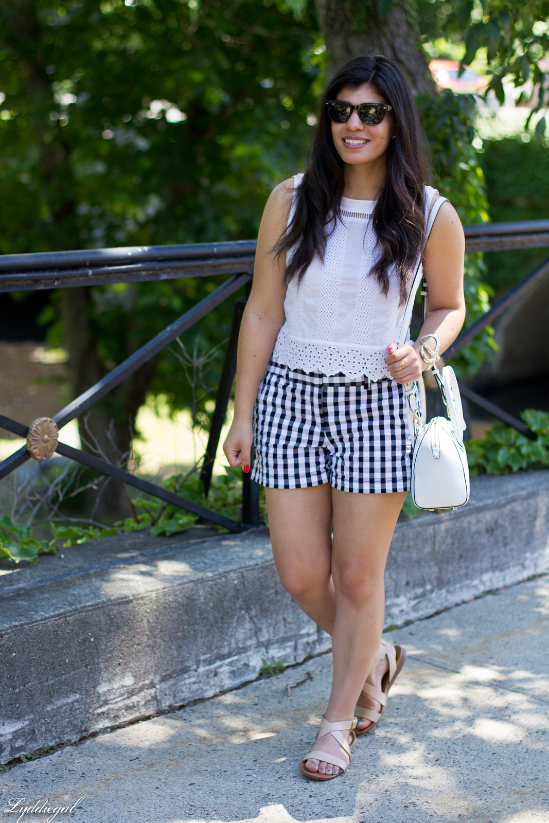 white eyelet lace crop top, gingham shorts, nude sandals.jpg