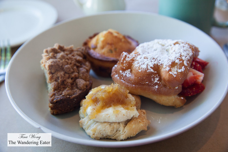 Pastry basket - Pistachio coffee cake, pineapple danish, jalapeno cheddar cornbread, strawberry stuffed doughnut