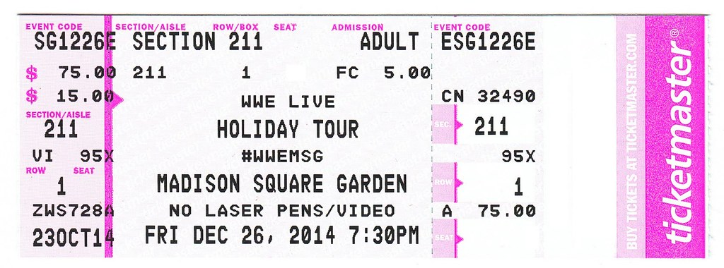 Ticketmaster ticket to see wwe live at madison square gard for Ticketmaster madison square garden