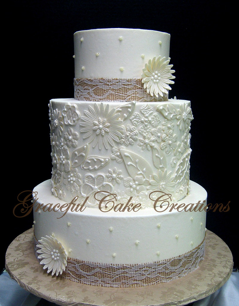 Rustic Chic Ivory Butter Cream Wedding Cake With A Fondant