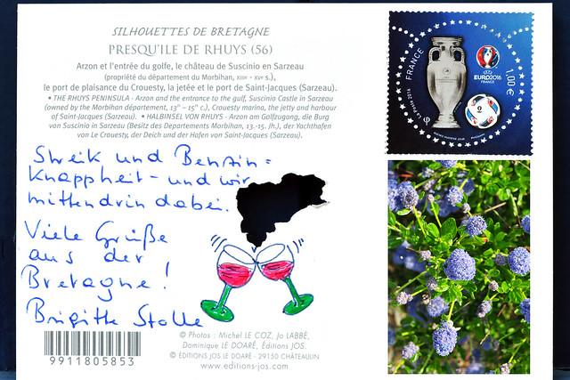 Urlaub Bretagne 2016 Ansichtskarte Postkarte malen bemalt gezeichnete Urlaubsgrüße Foto: Brigitte Stolle 2016