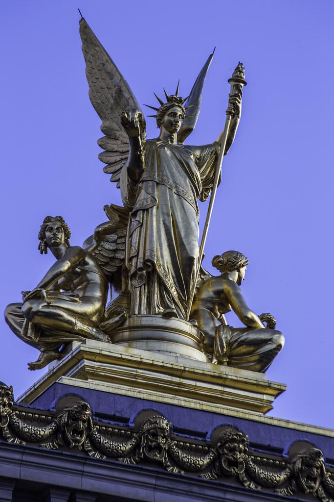 Sculptures Atop Opera Garnier Paris Poetry Roof