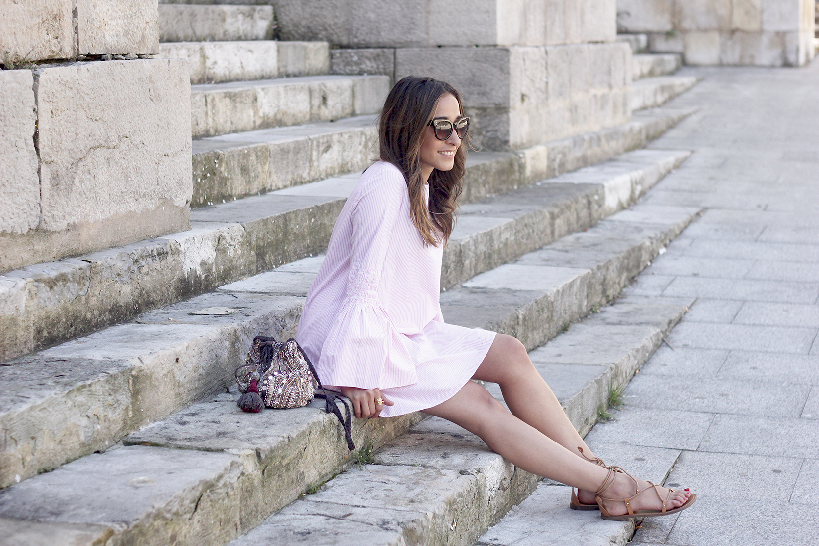 striped dress with bell sleeves summer outfit flat sandals sunnies07